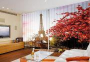 """Фотошторы """"Париж. Красные листья на фоне"""" распродажа"""